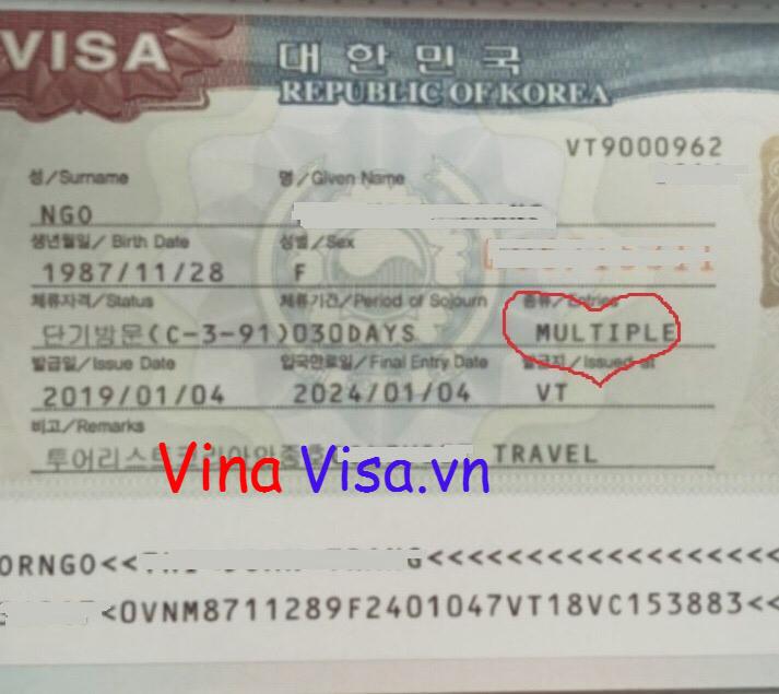 Visa Hàn Quốc 5 Năm - Hộ Khẩu Đà Nẵng - Vina Visa