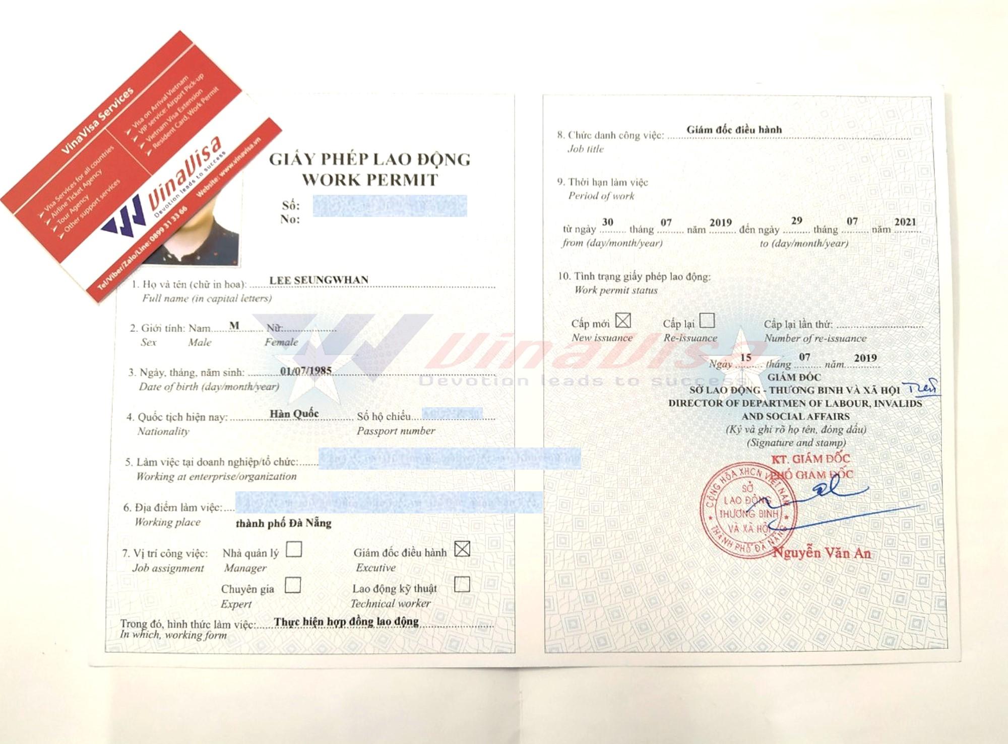 Kết quả giấy phép lao động của người Hàn Quốc