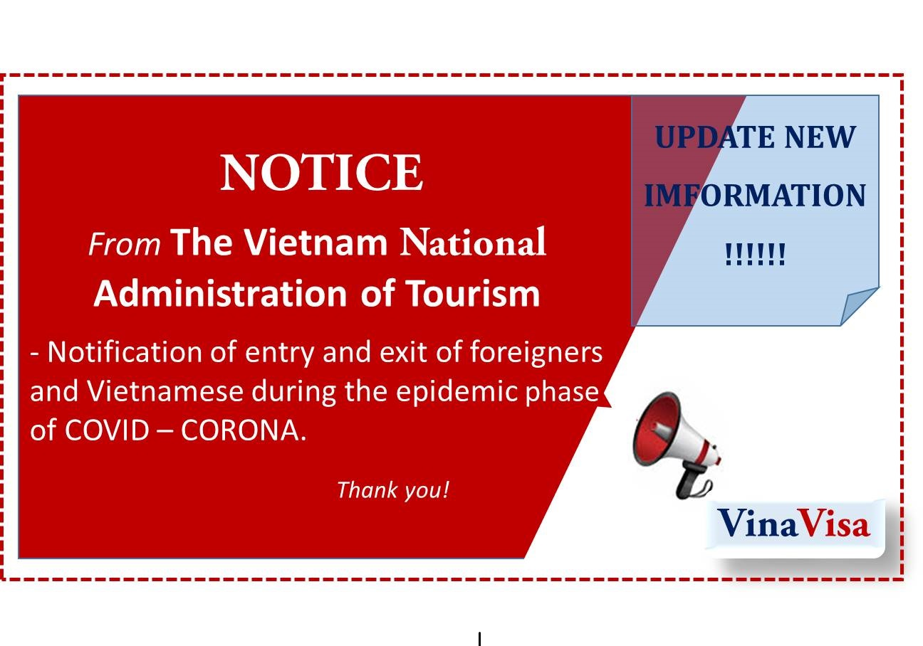 Notice of entry and exit of foreigners and Vietnamese during the COVID – CORONA epidemic phase of the Vietnam National Administration of Tourism on 26/02/2020