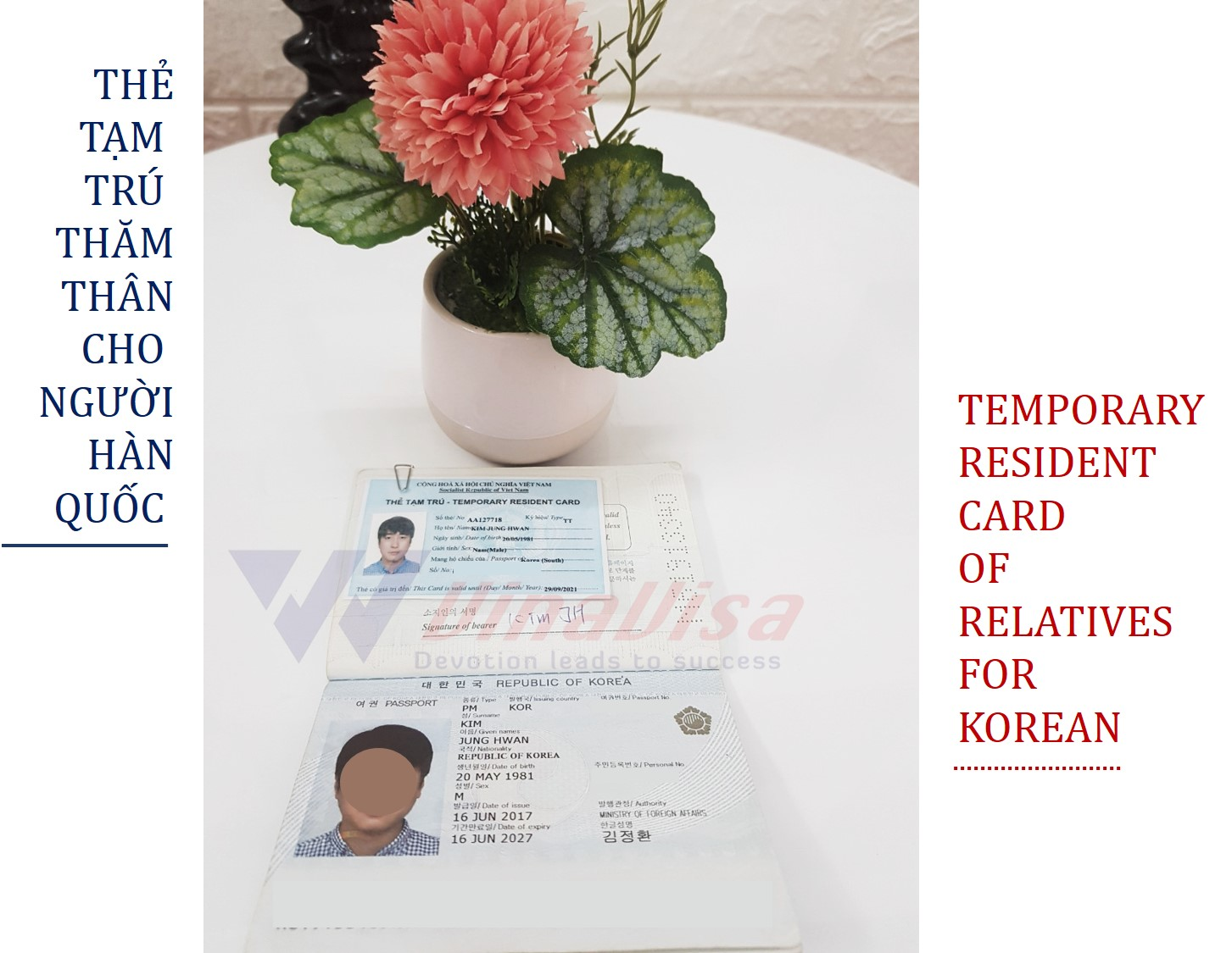 TEMPORARY RESIDENT CARD FOR SPOUSES OF FOREIGNERS WORKING AND LIVING IN VIETNAM
